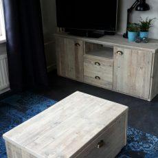 Salontafel en tv meubel steigerhout